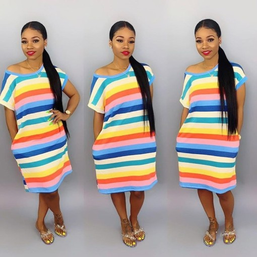 Casual Colorful Stripes Short Sleeve Loose Midi Dress BS-1063