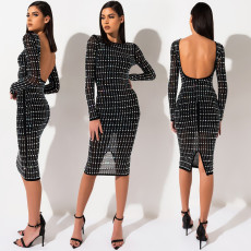 Sexy Mesh Perspective Rhinestone Backless Club Dress BY-3333