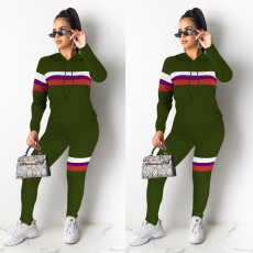 Casual Striped Hooded Two Piece Pants Set MEI-9073