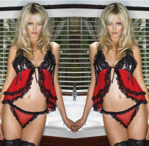 Red Black Strappy 2 Piece Babydoll Lingerie FQQ-0444