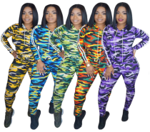 Camouflage Print Hooded Tracksuit Two Piece Set HGL-1088