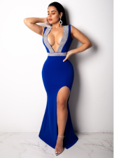 Plunge Thigh Slit Evening Dress LA-3065