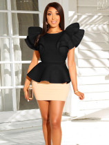 Elegant Ruffles Tops And Mini Skirt Set NY-8740