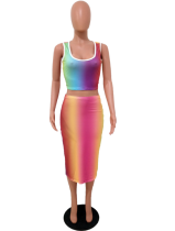 Rainbow Sleeveless Crop Top Skirt Set OYF-8018