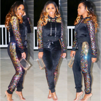 Black Sequin Hoodies And Pants Two Piece Set NK-8307