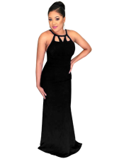 Black Halter Sleeveless Floor-Length Evening Dress SMR8673