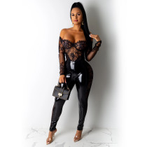 PU Leather Sexy Lace Patchwork Long Pencil Pants TE-3839