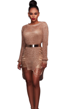 Rose Gold Hollow-Out Sweater Dress ZS-Z002