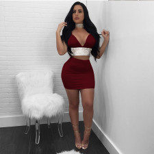 Sexy V Neck Cami Top And Mini Skirt 2 Piece Suits BT-926