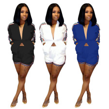 Casual Side Striped Long Sleeve Two Piece Shorts Set ME-332