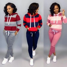 Casual Tracksuit Hoodies Long Pants Two Piece Sets HZM-9011