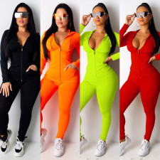 Solid Hooded Tracksuit Zipper Long Sleeve 2Piece Sets OFN-6303