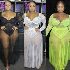 Plus Size 5XL See Through Lace Bodysuit&Mesh Skirt 2 Piece Sets YIF-1037