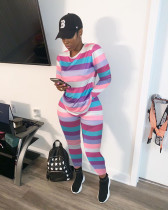 Colorful Stripe Long Sleeve Two Piece Outfits ARM-8131