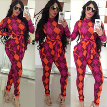 Plaid Print Ruffles Belted Long Sleeve Jumpsuit MA-142-1
