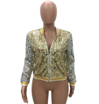Sparkly Sequin Spliced Sexy Zipper Jacket TR-886