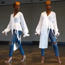 White Irregular V Neck Long Sleeve Shirt DAI-8096