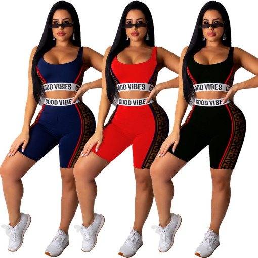 Casual Sporty Tank Tops And Shorts 2 Piece Sets CYA-8159