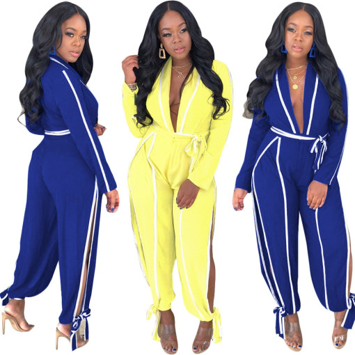 Sexy Deep V Neck Long Sleeve Split Sashes Long Jumpsuits SH-3611