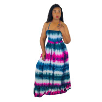 Sexy Printed Halter Maxi Long Dresses LUO-6158