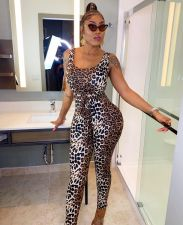 Sexy Leopard Print Sleeveless Bodycon Jumpsuits AWN-5048