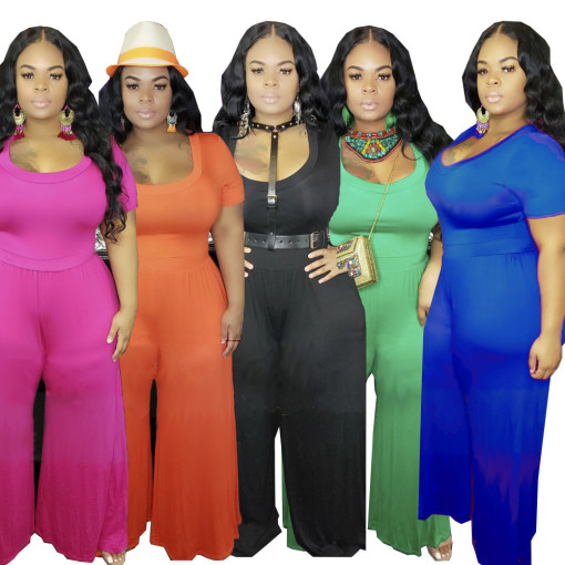 Plus Size 5XL Solid Short Sleeve One Piece Jumpsuits YIF-1023