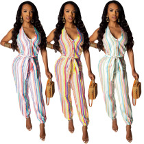 Colorful Stripe V Neck Sleeveless Long Jumpsuit DAI-8158