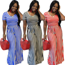 Striped Short Sleeve Wide Leg Pants Two Piece Set HZM-6002