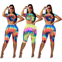 Tie Dye Print Short Sleeve Two Piece Sets MOY-5086