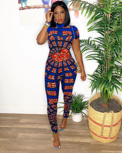 Fashion Printed Short Sleeve Bodycon Jumpsuits TK-6007