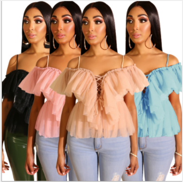 Sexy Mesh Ruffles Off Shoulder Crop Tops LS-0280