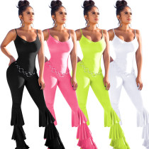 Solid Ruffles Spaghetti Strap Sleeveless One Piece Jumpsuits ME-309
