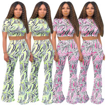 Zebra Stripe Short Sleeve Crop Top Long Pants 2 Piece Suit SHD-9131