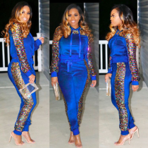 Blue Sequin Hoodies And Pants Two Piece Set NK-8307