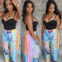Fashion Colorful Printed Straight Long Pants CY-1889