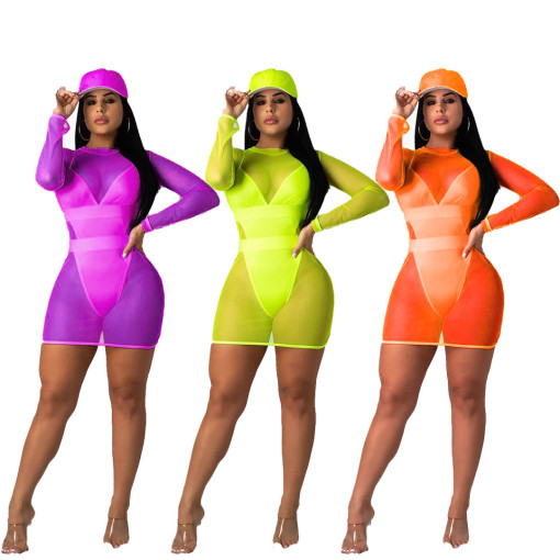 Plus Size 2pcs Swimsuit Beach Bodysuit+Mesh Mini Dress MOY-5096