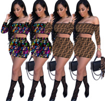 Sexy Slash Neck Crop Tops And Mini Skirt Sets WSM-5059-1
