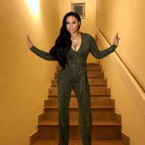 Sexy Shining V Neck Long Sleeve Jumpsuits LD-98025