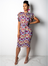 Printed Butterfly Sleeve Bodycon Midi Dress TE-3549