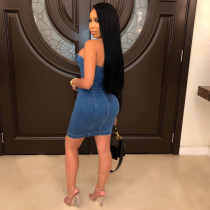 Sexy Strapless Wrap Bodycon Mini Tube Denim Dresses TR-950
