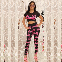 Letter Print Crop Tops And Pants 2 Piece Set CXM-8046