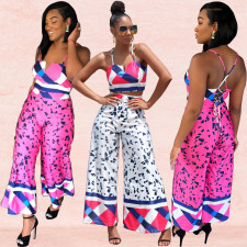 Geometric Print Lace Up Crop Top Wide Leg Pants Set BY-3284