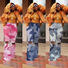 Camouflage Print Ripped Holes Long Flared Pants CH-8063