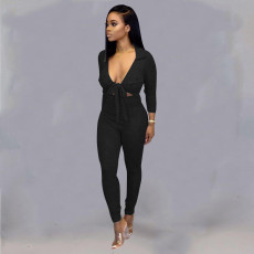 Sexy Tie Up Hollow Out Skinny One Piece Jumpsuits BS-1149