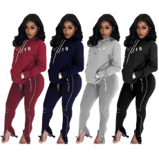 Letter Print Hoodies Long Pants Two Piece Sets YIM-8074