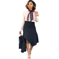 Trendy Bow Tie Shirt And Irregular Skirt 2 Piece Sets MTY-6233