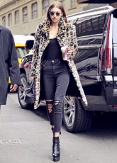 Fashion Leopard Printed Wool Warm Long Coats