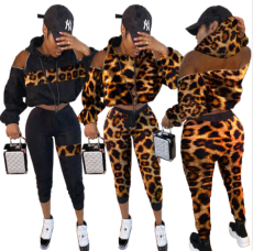 Leopard Print Hooded Zipper Two Piece Outfits MAE-228