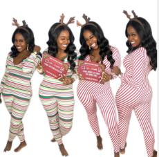 Sexy Stripe Long Sleeves Bodycon Jumpsuits MK-2048