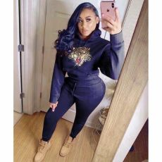 Tiger Print Tracksuit Hooded Casual Two Piece Sets FST-7063